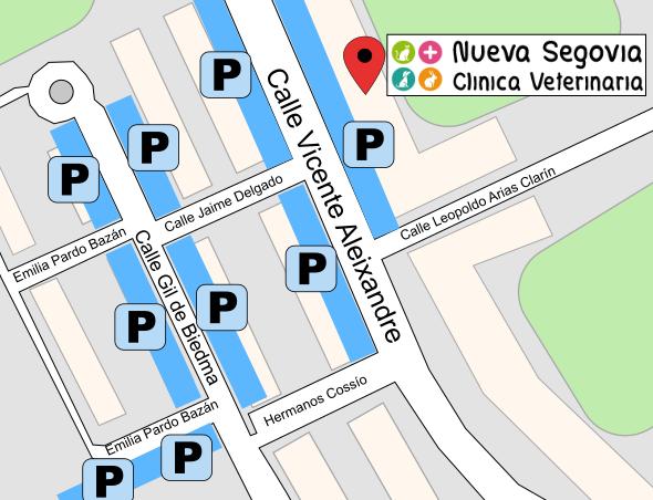 Mapa de aparcamiento para la Clínica Veterinaria Nueva Segovia
